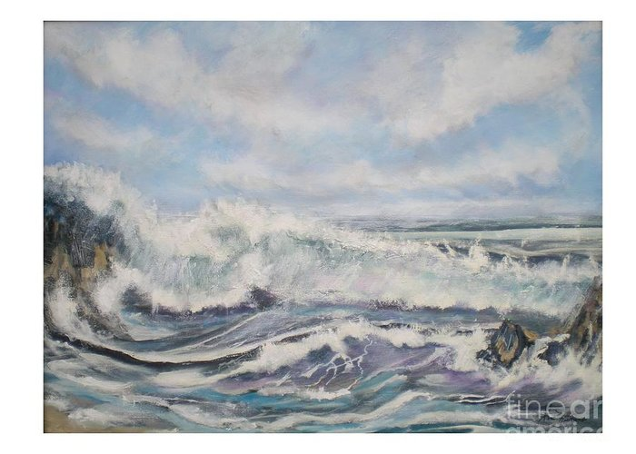 Seascape Greeting Card featuring the painting Ocean Wave by Hal Newhouser