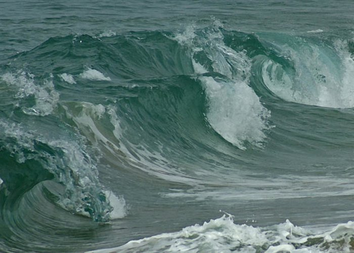 Ocean Greeting Card featuring the mixed media Ocean Waves 2 by Ernie Echols