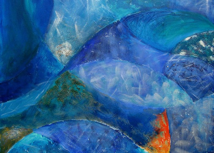 Abstract Greeting Card featuring the painting Ocean's Lullaby by Aliza Souleyeva-Alexander