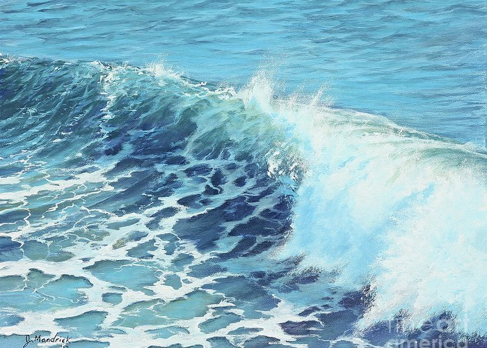 California Surfer Greeting Card featuring the painting Ocean's Might by Joe Mandrick