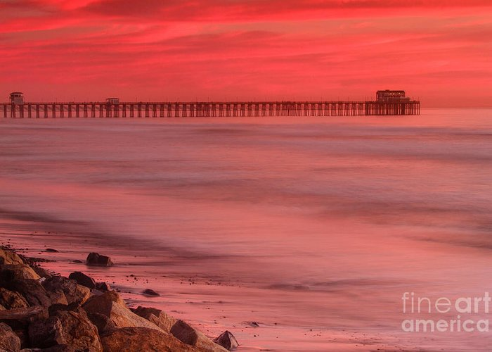 Oceanside Pier Greeting Card featuring the photograph Oceanside Pier Sunset 4 by Ben Graham