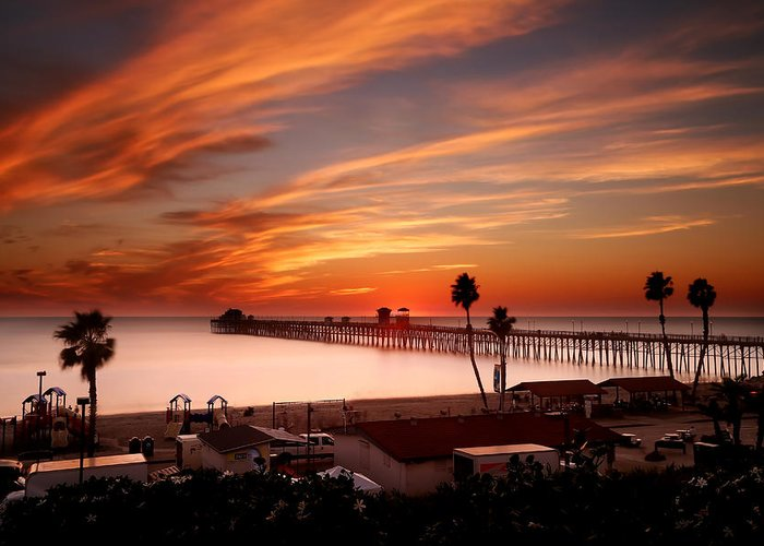 Larry Marshall Greeting Card featuring the photograph Oceanside Sunset 10 by Larry Marshall
