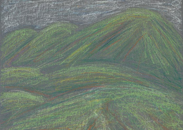 Mountain Greeting Card featuring the pastel Ochre Mountains by Dawn Marie Black