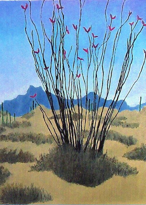 Realism Greeting Card featuring the painting Ocotillo by Bernard Goodman