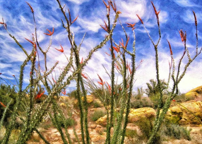 Ocotillos Greeting Card featuring the painting Ocotillos In Bloom by Dominic Piperata