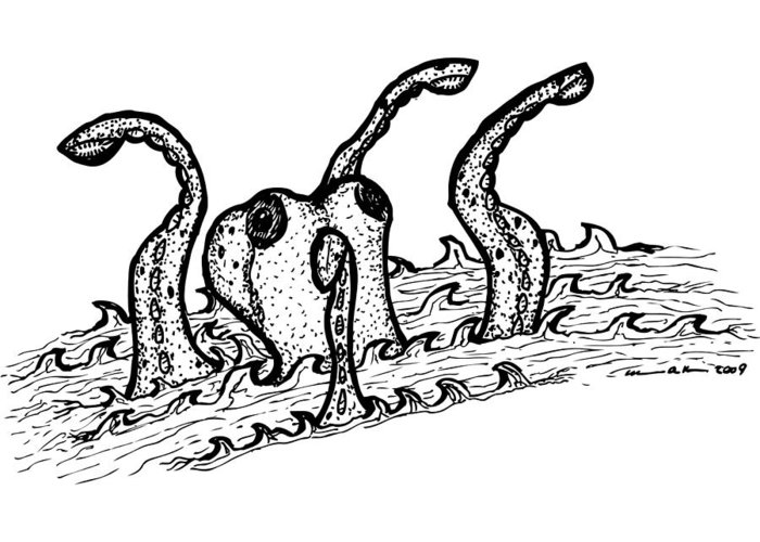 Drawing Greeting Card featuring the drawing Ocotopus by Karl Addison