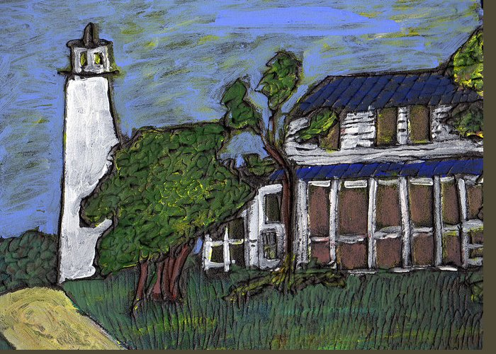 Light House Greeting Card featuring the painting Ocracoke Island Light House by Wayne Potrafka