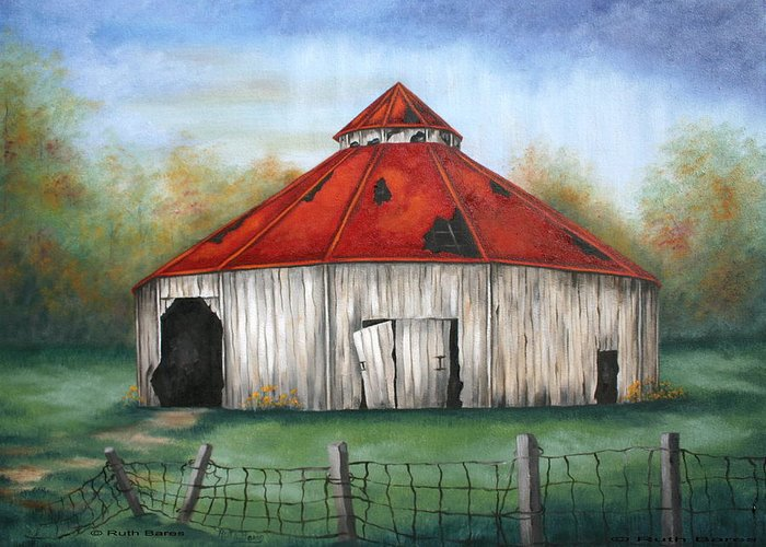 Barn Greeting Card featuring the painting Octagen Barn by Ruth Bares