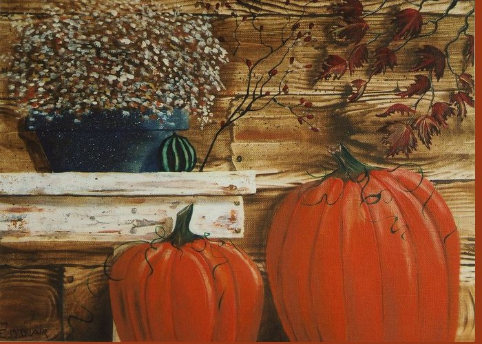 Pumpkins Greeting Card featuring the painting October Decor by Eileen Blair