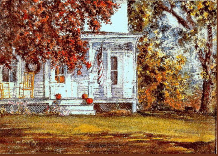 Fall Greeting Card featuring the painting October House by June Conte Pryor