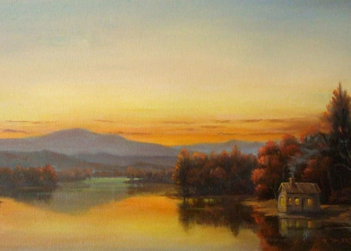 Woodstock Greeting Card featuring the painting October Light by Kevin Palfreyman