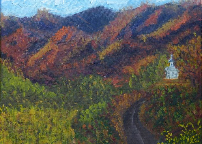 Fall Greeting Card featuring the painting October Road To Home by Margaret G Calenda