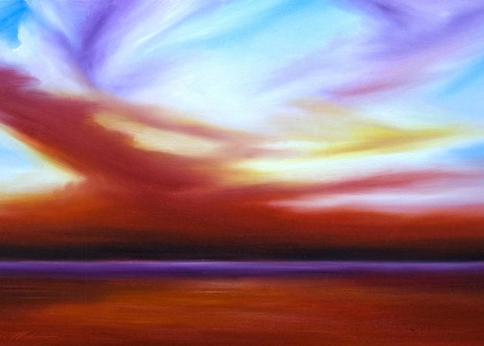 Skyscape Greeting Card featuring the painting October Sky IIi by James Christopher Hill