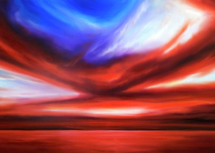 Sunrise; Sunset; Power; Glory; Cloudscape; Skyscape; Purple; Red; Blue; Stunning; Landscape; James C. Hill; James Christopher Hill; Jameshillgallery.com; Ocean; Lakes; Storm; Tornado; Lightning Greeting Card featuring the painting October Sky V by James Christopher Hill