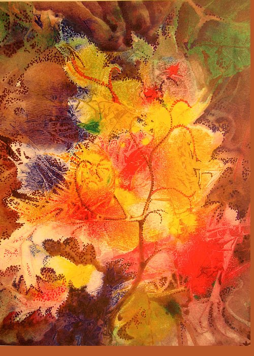Semi-abstract Greeting Card featuring the painting October Song by Bill Meeker
