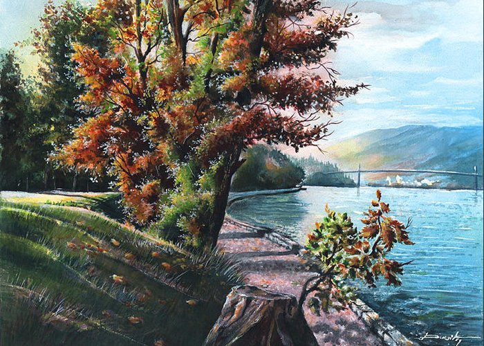 Lanscape Greeting Card featuring the painting October Visiting Stanley Park Bc by Dumitru Barliga
