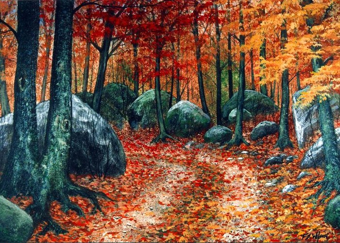 Landscape Greeting Card featuring the painting October Woodland by Frank Wilson