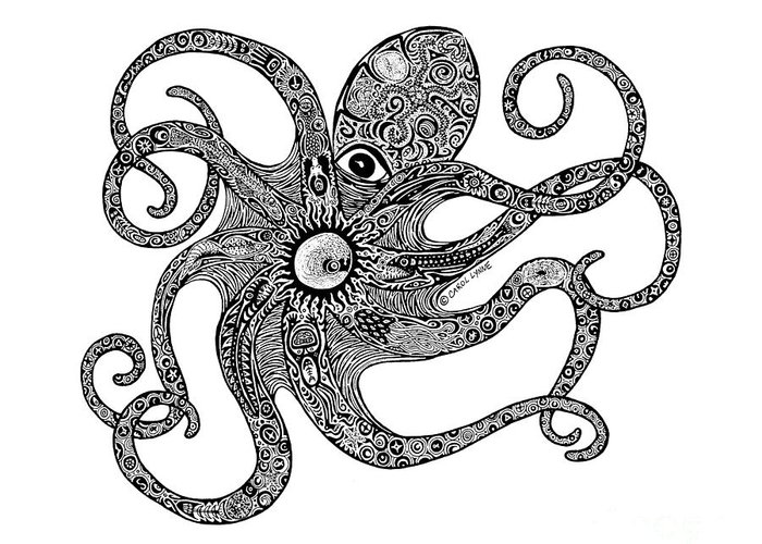 Octopus Greeting Card featuring the drawing Octopus by Carol Lynne