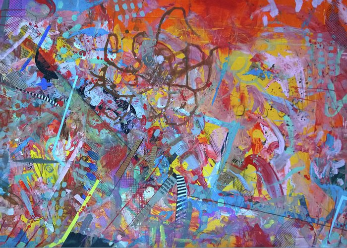 Collage Abstract 8 Robert Anderson Greeting Card featuring the painting Octopus Playground by Robert Anderson