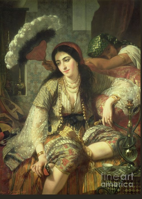 Odalisque Greeting Card featuring the painting Odalisque by Jean Baptiste Ange Tissier