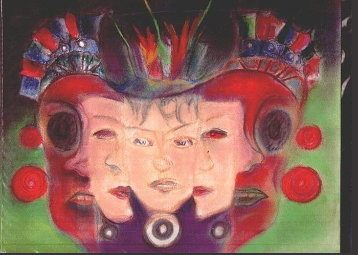 Aztec Women Greeting Card featuring the pastel Ode To William Blake by Lee Anne Stieglitz