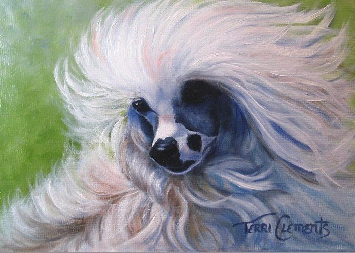 Dog Greeting Card featuring the painting Odin In The Breeze by Terri Clements