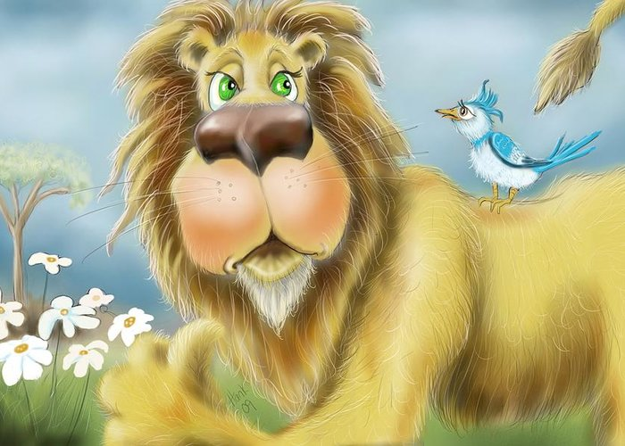 Lion And Bird Greeting Card featuring the drawing Off My Back by Hank Nunes