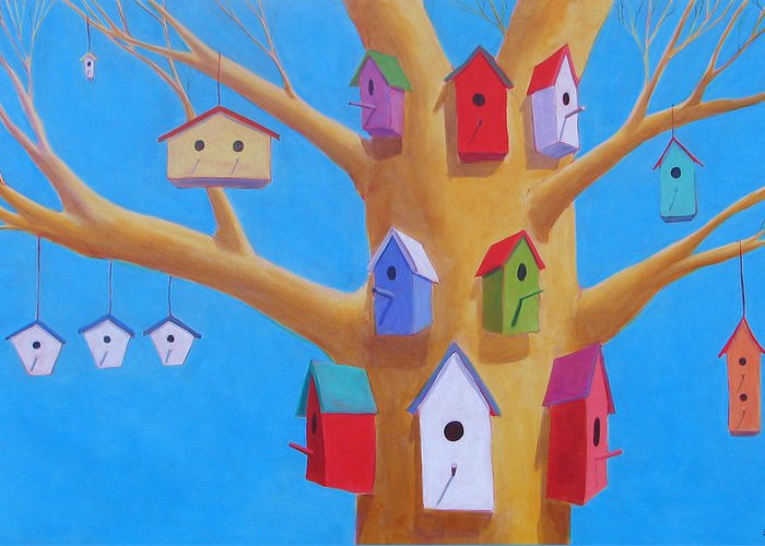 Bird House Greeting Card featuring the painting Off Season 4 by Scott Gordon