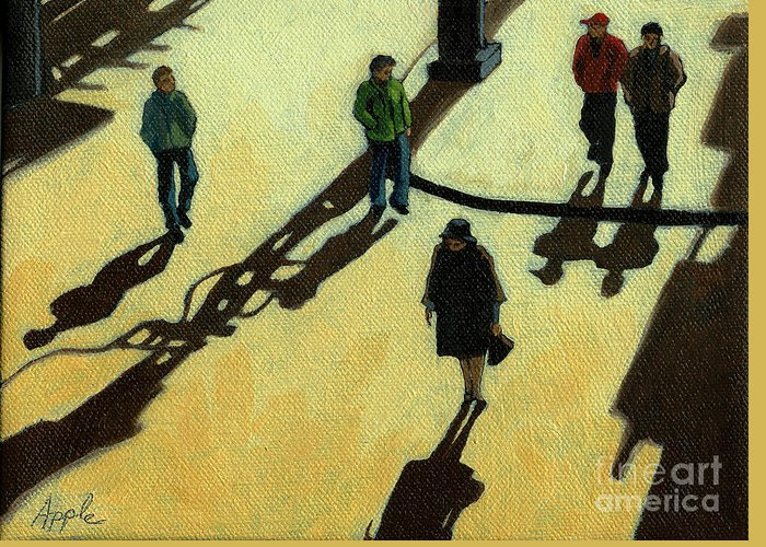 People Paintings Greeting Card featuring the painting Off To Work Shadows - Painting by Linda Apple