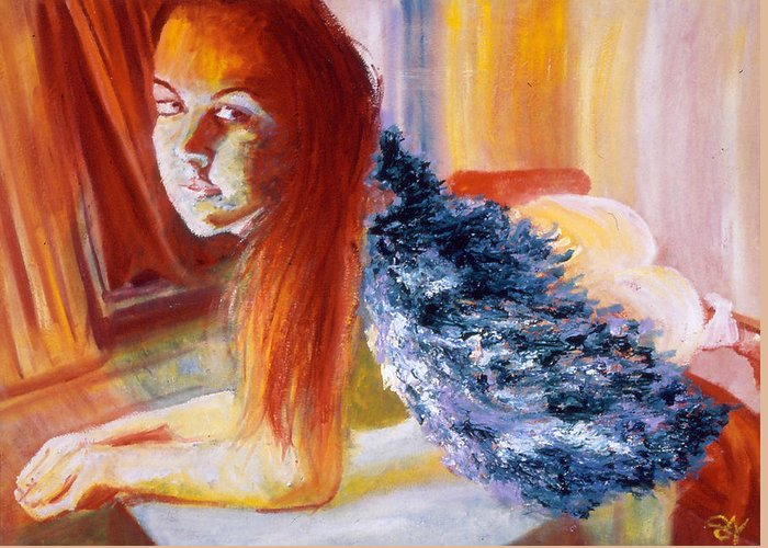 Portrait Greeting Card featuring the painting Office Angel II by LB Zaftig