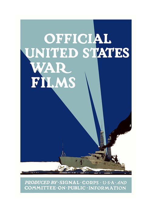 Ship Greeting Card featuring the painting Official United States War Films by War Is Hell Store