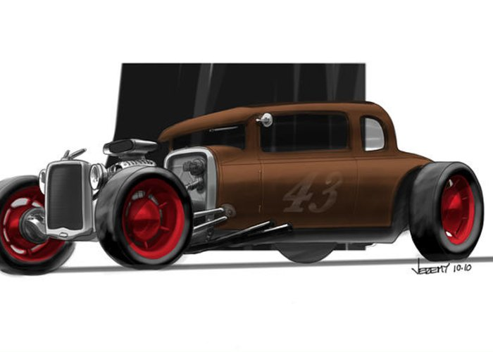 Hot Rod Greeting Card featuring the drawing Og Hot Rod by Jeremy Lacy