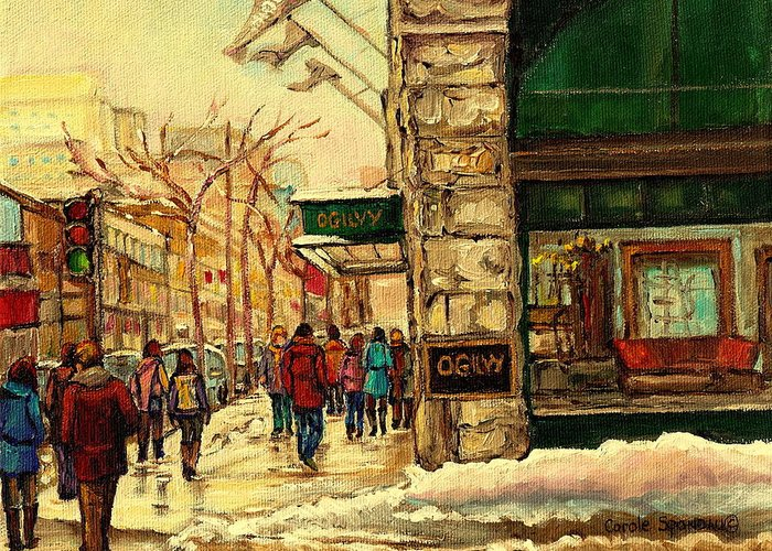 Ogilvys Department Store Greeting Card featuring the painting Ogilvys Department Store Downtown Montreal by Carole Spandau