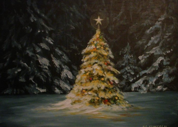 Christmas Greeting Card featuring the painting Oh Christmas Tree by Richard Klingbeil
