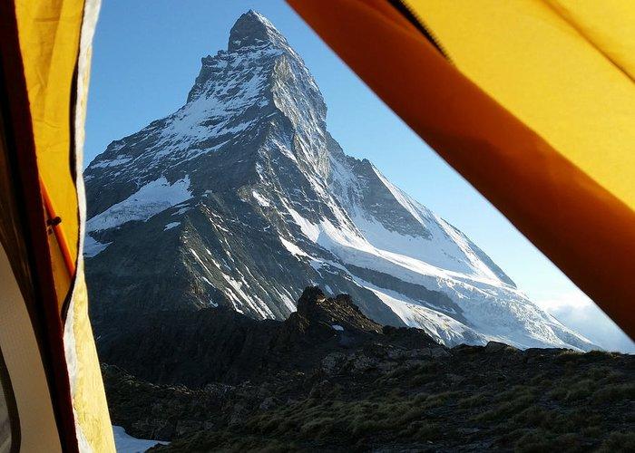 Matterhorn Greeting Card featuring the photograph Matterhorn Camping by Two Small Potatoes
