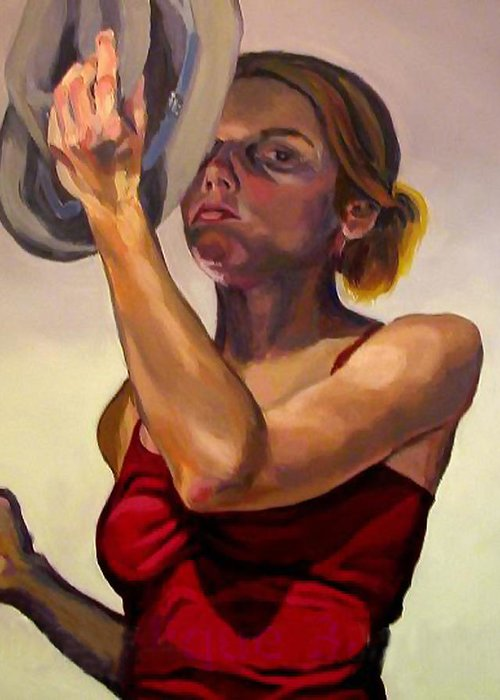Portraits Greeting Card featuring the painting Oh How The Tables Have Turned by Angelique Bowman