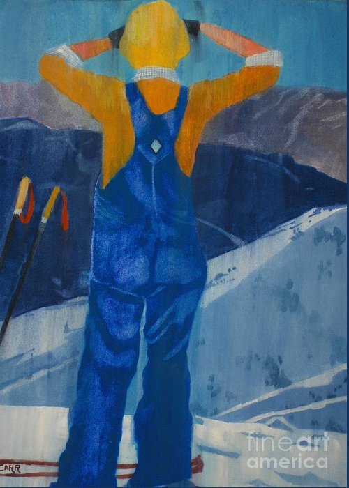 Ski Greeting Card featuring the painting Oh Say Can You See by Elizabeth Carr