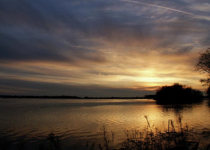 Sunset Greeting Card featuring the photograph Ohio River Sunset by Sandy Keeton