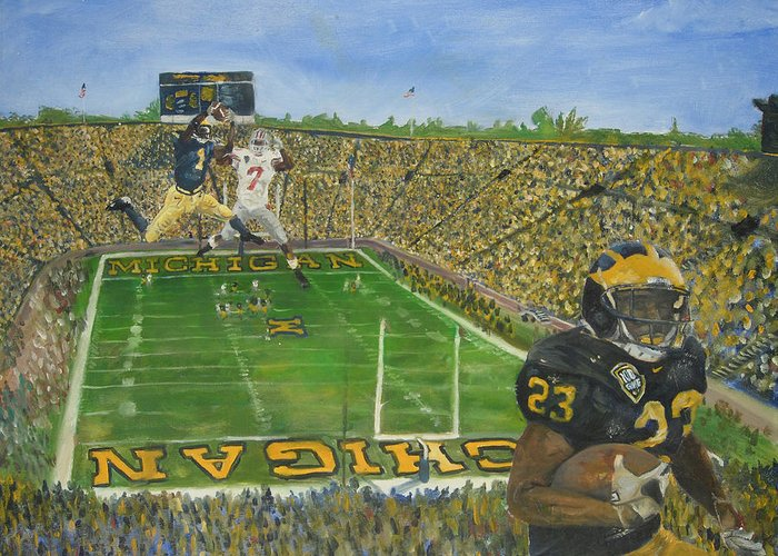 Michigan Greeting Card featuring the painting Ohio State Vs. Michigan 100th Game by Travis Day