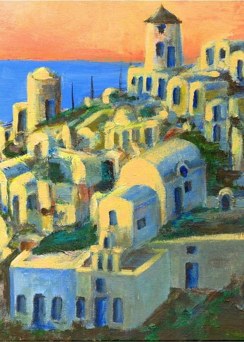 Oia Greeting Card featuring the painting Oia. Santorini by Randy Sprout