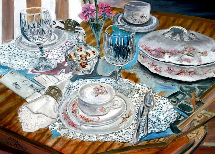 Oil Greeting Card featuring the painting Oil Painting Still Life China Tea Set by Derek Mccrea