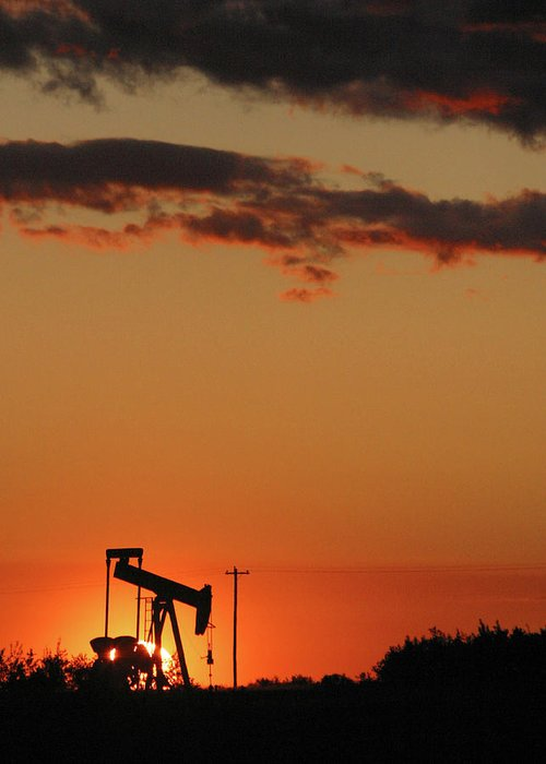 Oil Greeting Card featuring the photograph Oil Pump Jack 3 by Jack Dagley