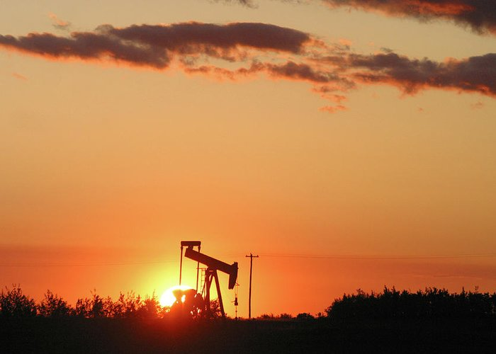 Oil Greeting Card featuring the photograph Oil Pump Jack by Jack Dagley