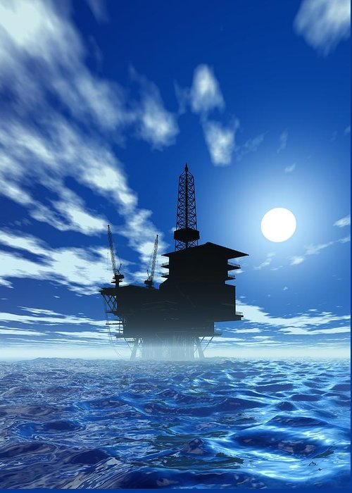 Artwork Greeting Card featuring the photograph Oil Rig, Artwork by Victor Habbick Visions