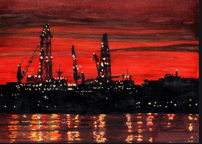 Cityscape Greeting Card featuring the painting Oil Rigs Night Construction Portland Harbor by Dominic White