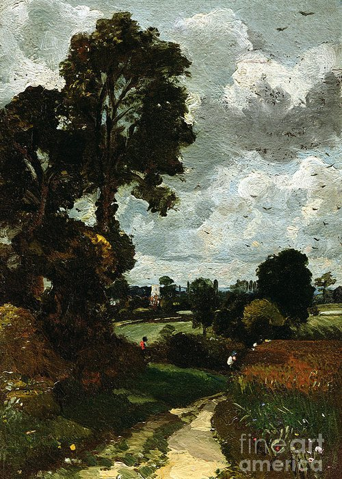 Oil Greeting Card featuring the painting Oil Sketch Of Stoke-by-nayland by John Constable