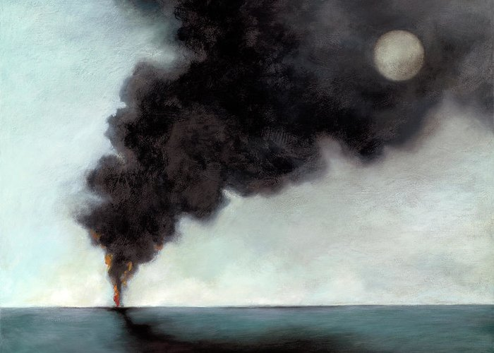 Smoke Greeting Card featuring the painting Oil Spill 3 by Katherine DuBose Fuerst