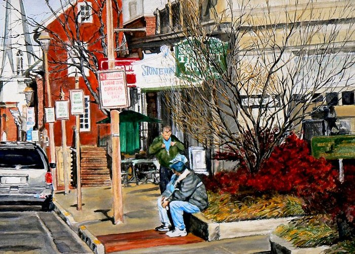 City Scene Greeting Card featuring the painting Oil Stains and Red Nandina by Thomas Akers