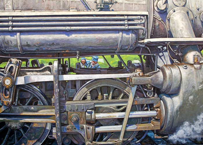 Train Greeting Card featuring the painting Oiling The 28 by Gary Symington