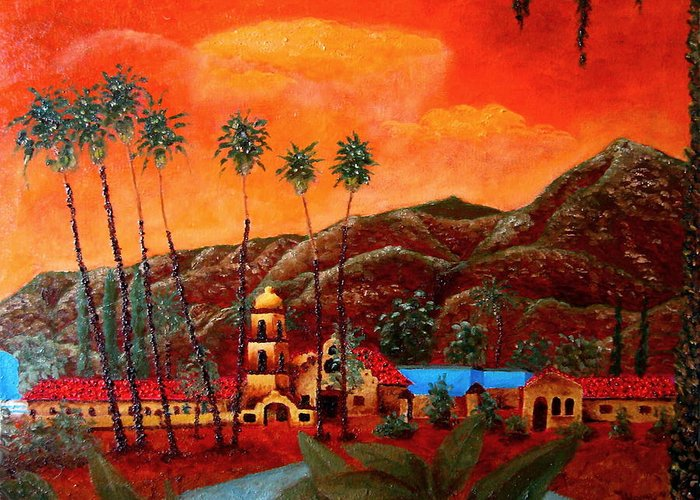 Cityscape Greeting Card featuring the painting Ojai Orange by Chris Haugen